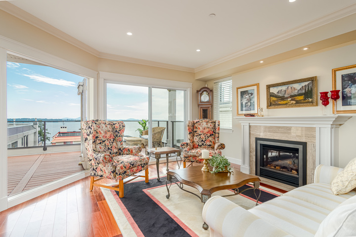 Living Room & Main Floor Balcony  at 15090 Beachview Avenue, White Rock, South Surrey White Rock