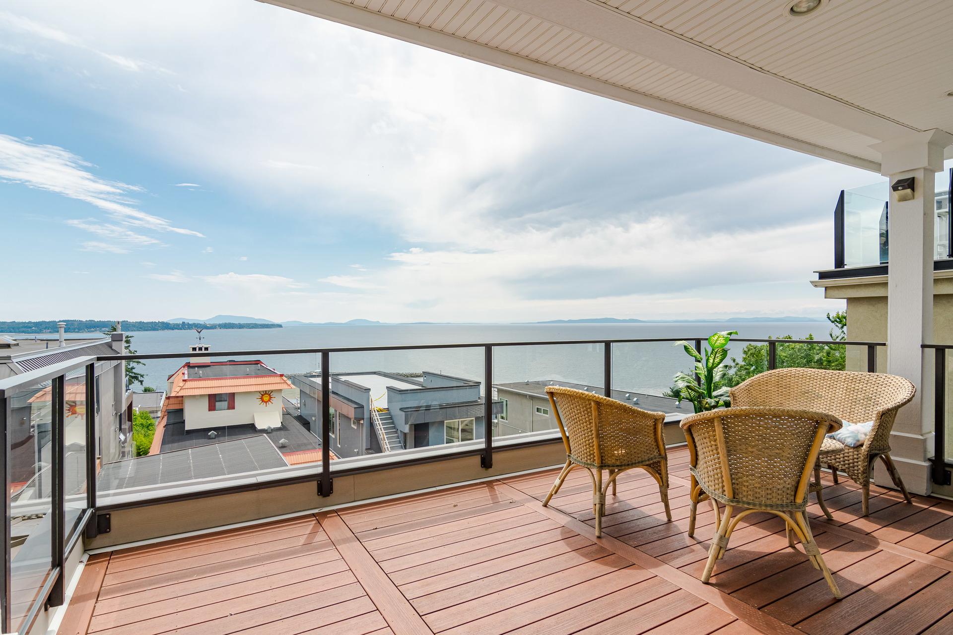 Main Floor Balcony with Views at 15090 Beachview Avenue, White Rock, South Surrey White Rock