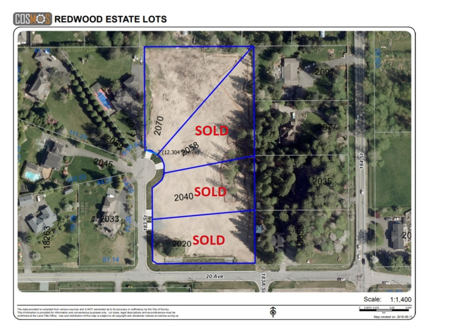 Aerial Lot Overview at 2058 183 Street, Hazelmere, South Surrey White Rock