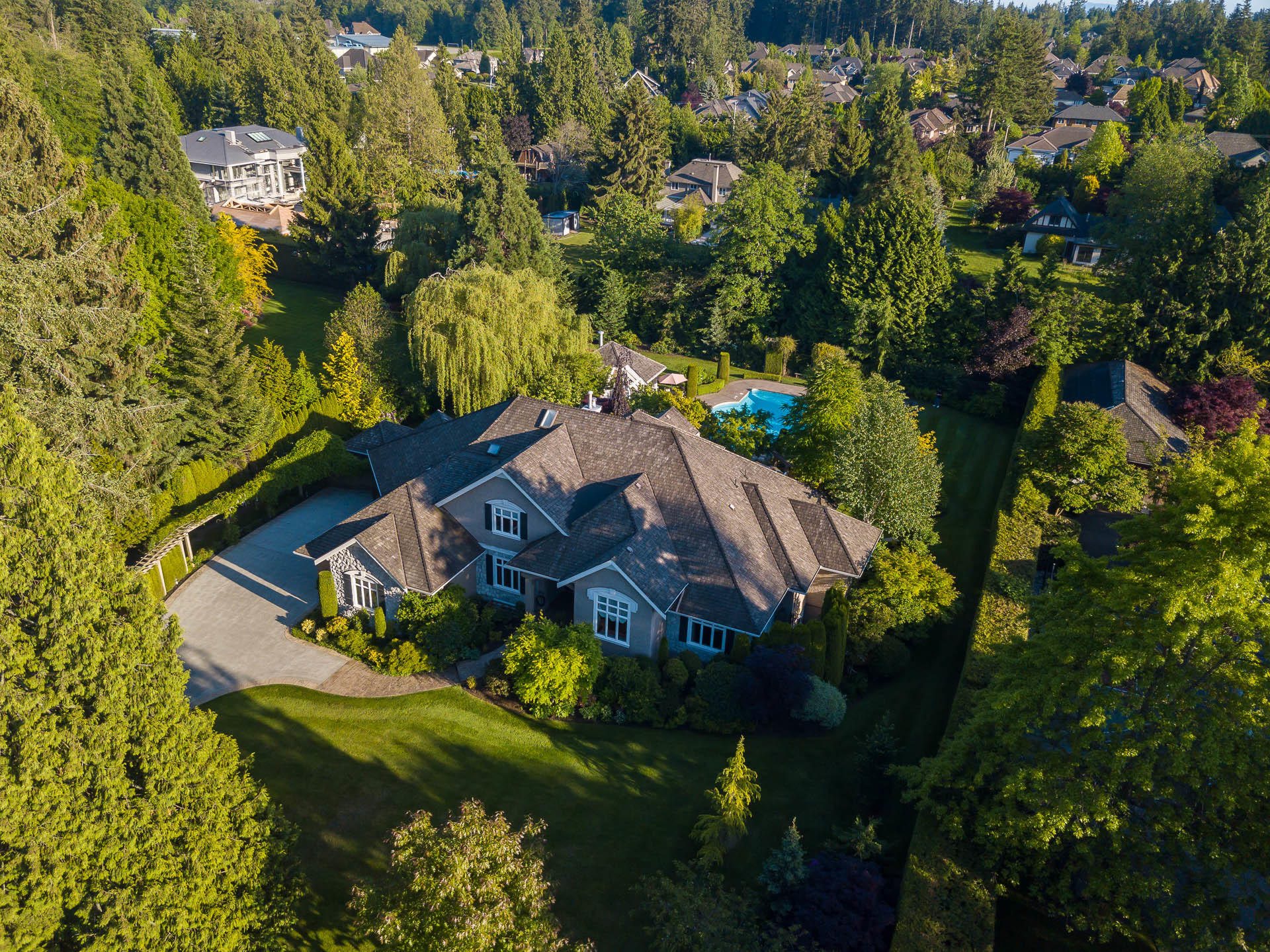 Aerial View at 13342 25 Avenue, Elgin Chantrell, South Surrey White Rock