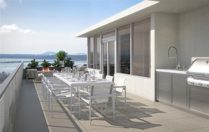 Patio with Ocean View at 1602 - 15165 Thrift Avenue, White Rock, South Surrey White Rock
