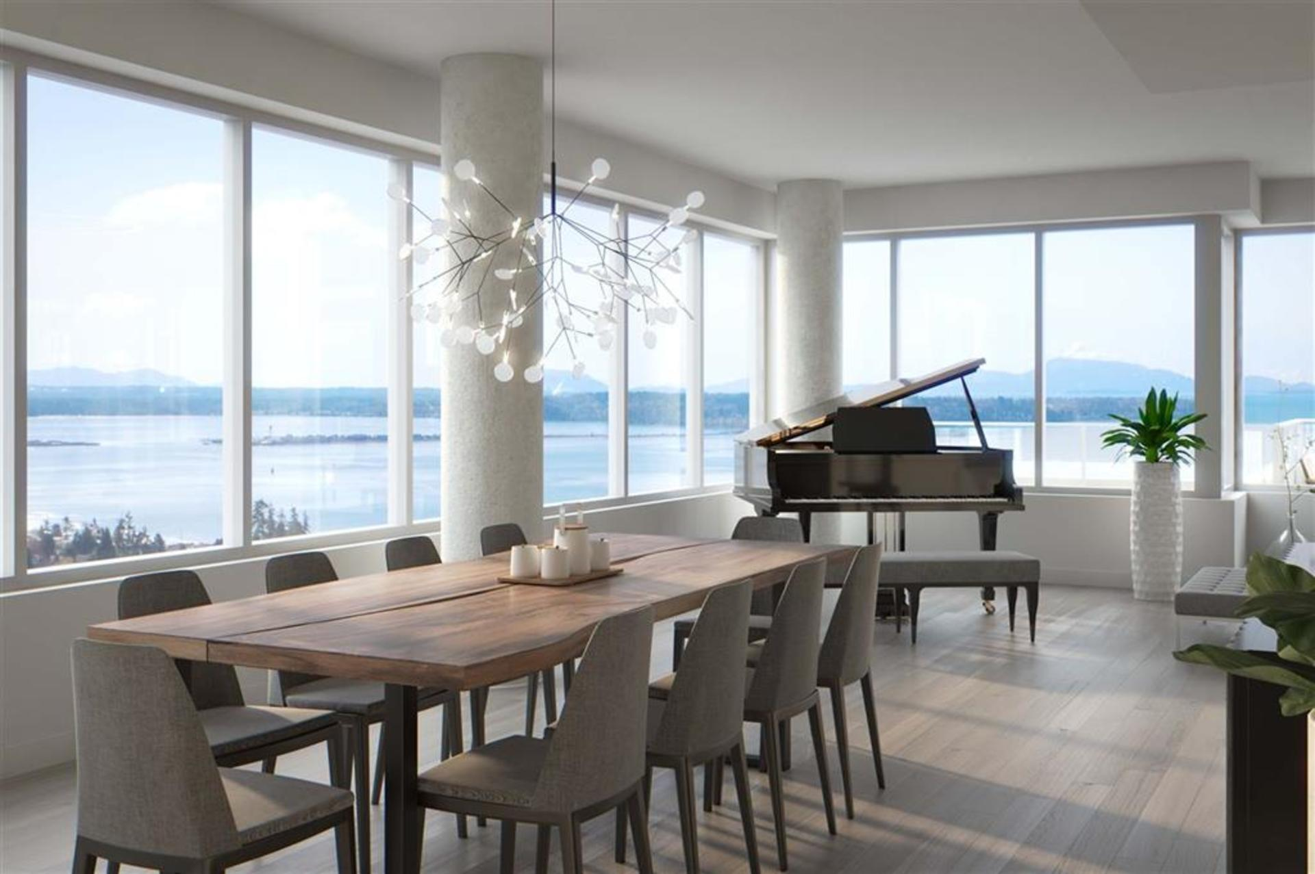 Dining Room with Ocean View  at 1602 - 15165 Thrift Avenue, White Rock, South Surrey White Rock