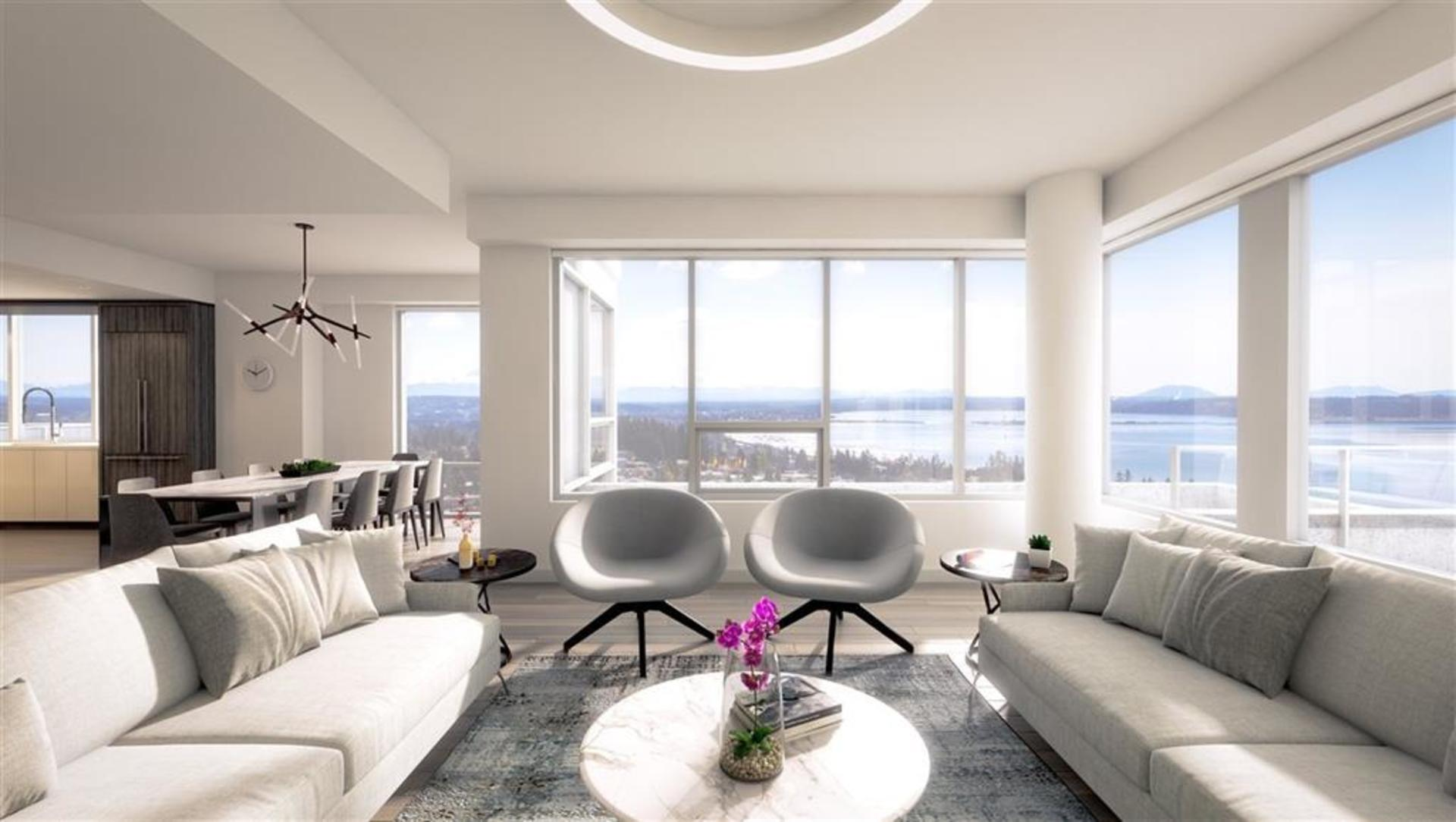 Living Room with Ocean  View  at 1602 - 15165 Thrift Avenue, White Rock, South Surrey White Rock