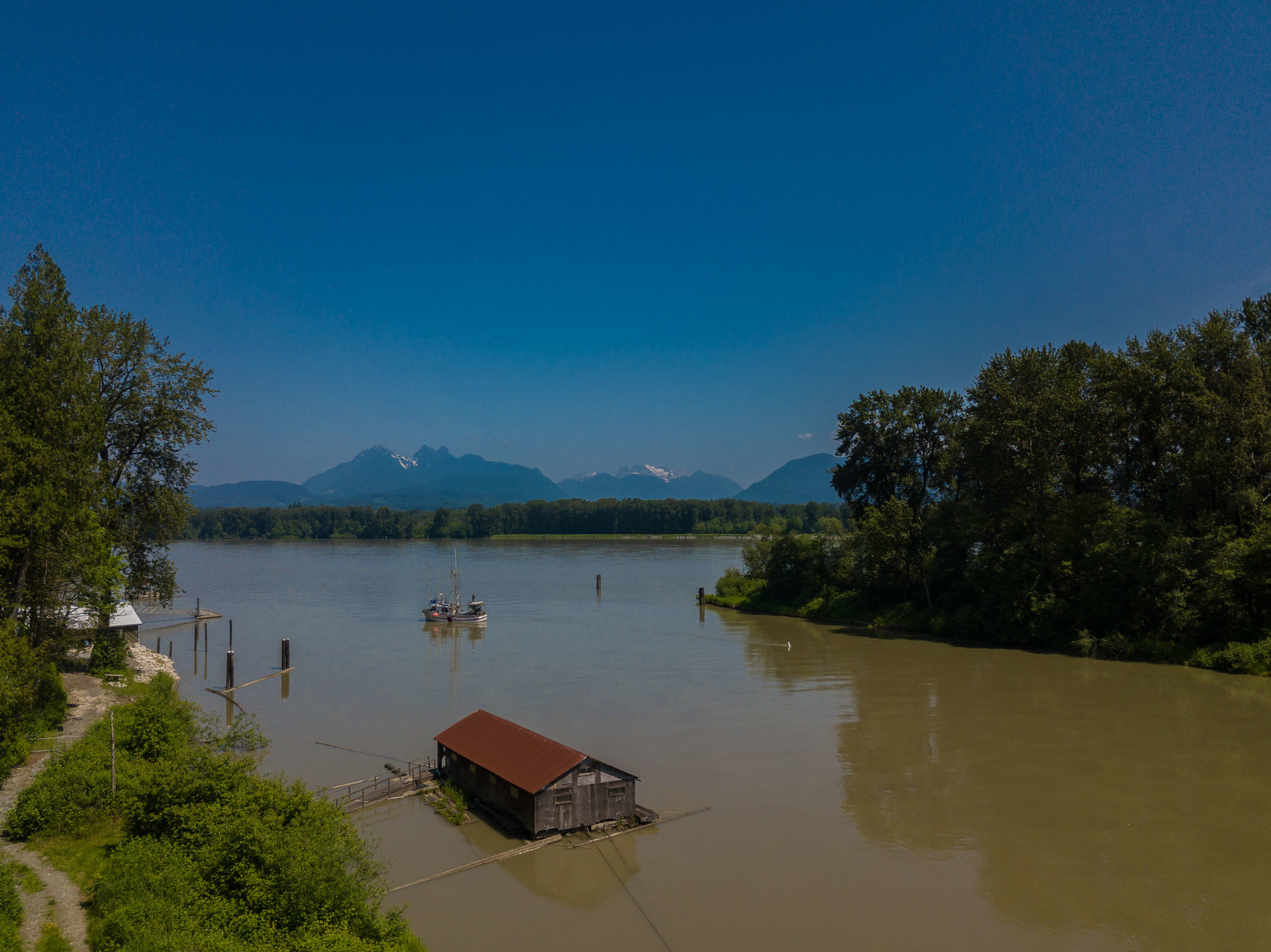 Fraser River with Mountain View at 10114 Allard Crescent, Fort Langley, Langley
