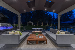 18-outdoor-covered-fireside-lounge-with-heater-storage-outbuilding-in-distance at 14388 27 Avenue, Elgin Chantrell, South Surrey White Rock