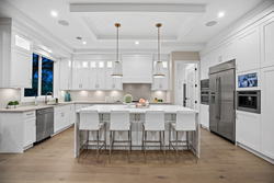 12-custom-island-pendants-with-shiplap-detail-and-beautiful-chefs-kitchen at 14486 17 Avenue, Sunnyside Park Surrey, South Surrey White Rock
