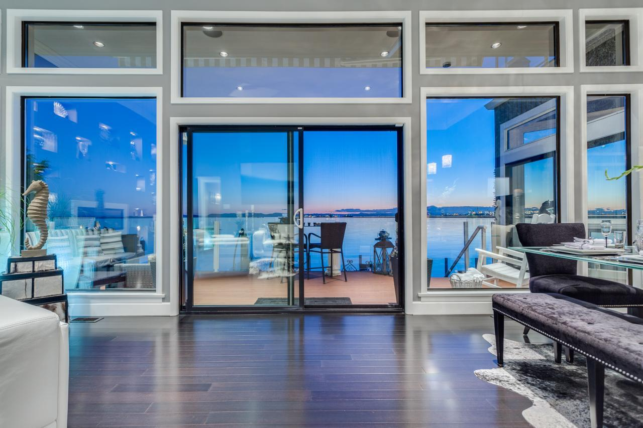 Glass Doors to Patio at 924 Tsawwassen Beach Road, Tsawwassen
