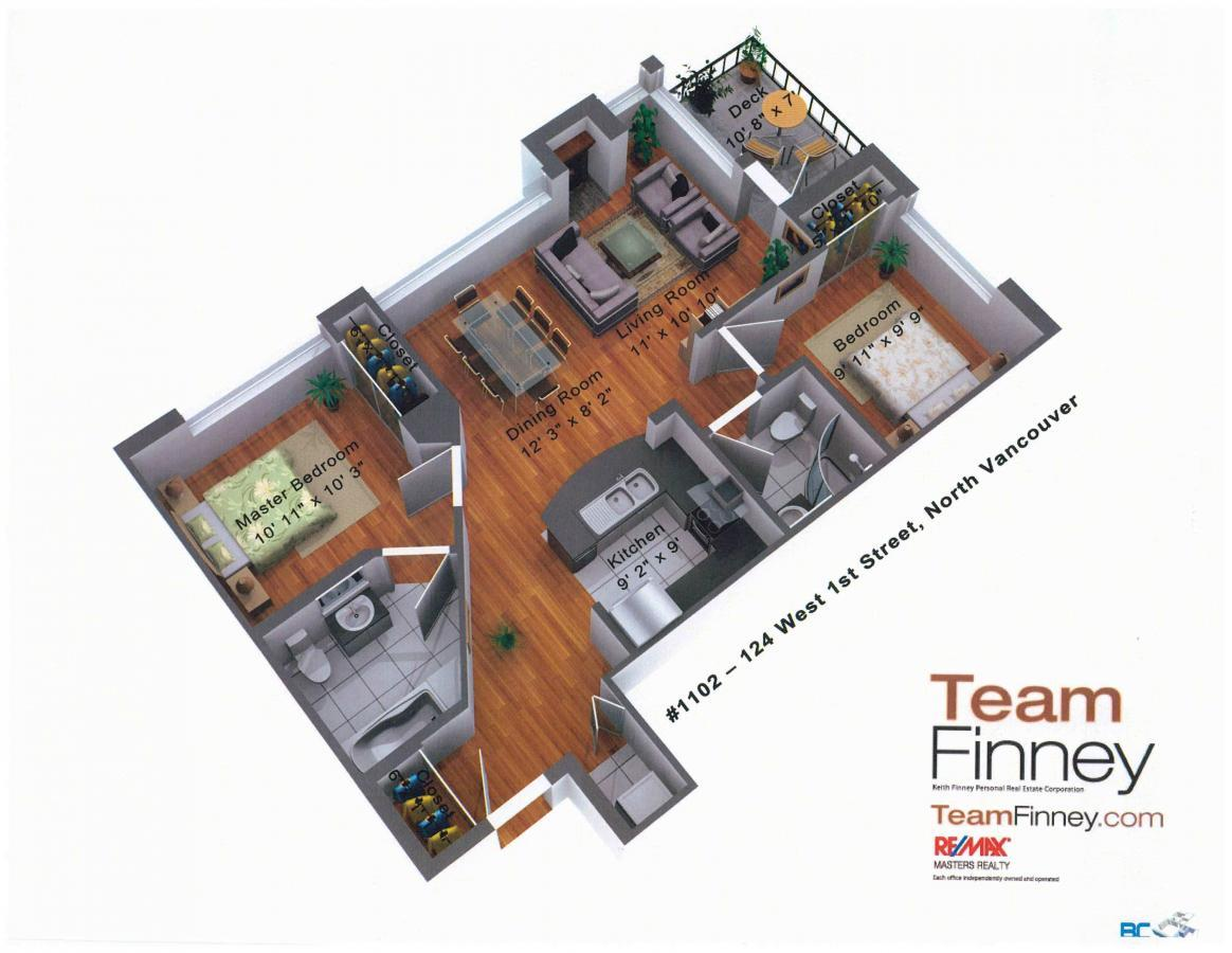 Floor Plan at 1102 - 124 W 1st, North Vancouver