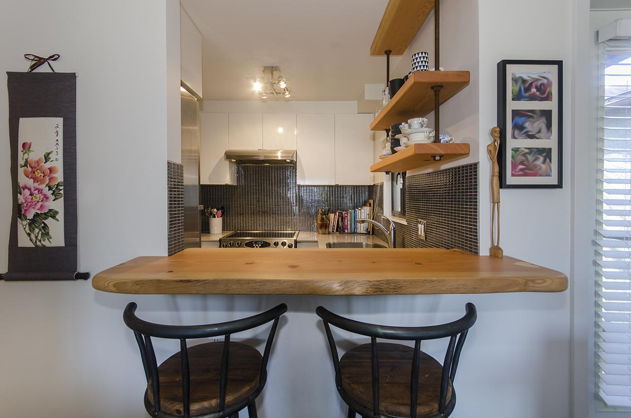 custom Douglas Fir bar top and shelves at 303 - 2160 Cornwall Avenue, Kitsilano, Vancouver West