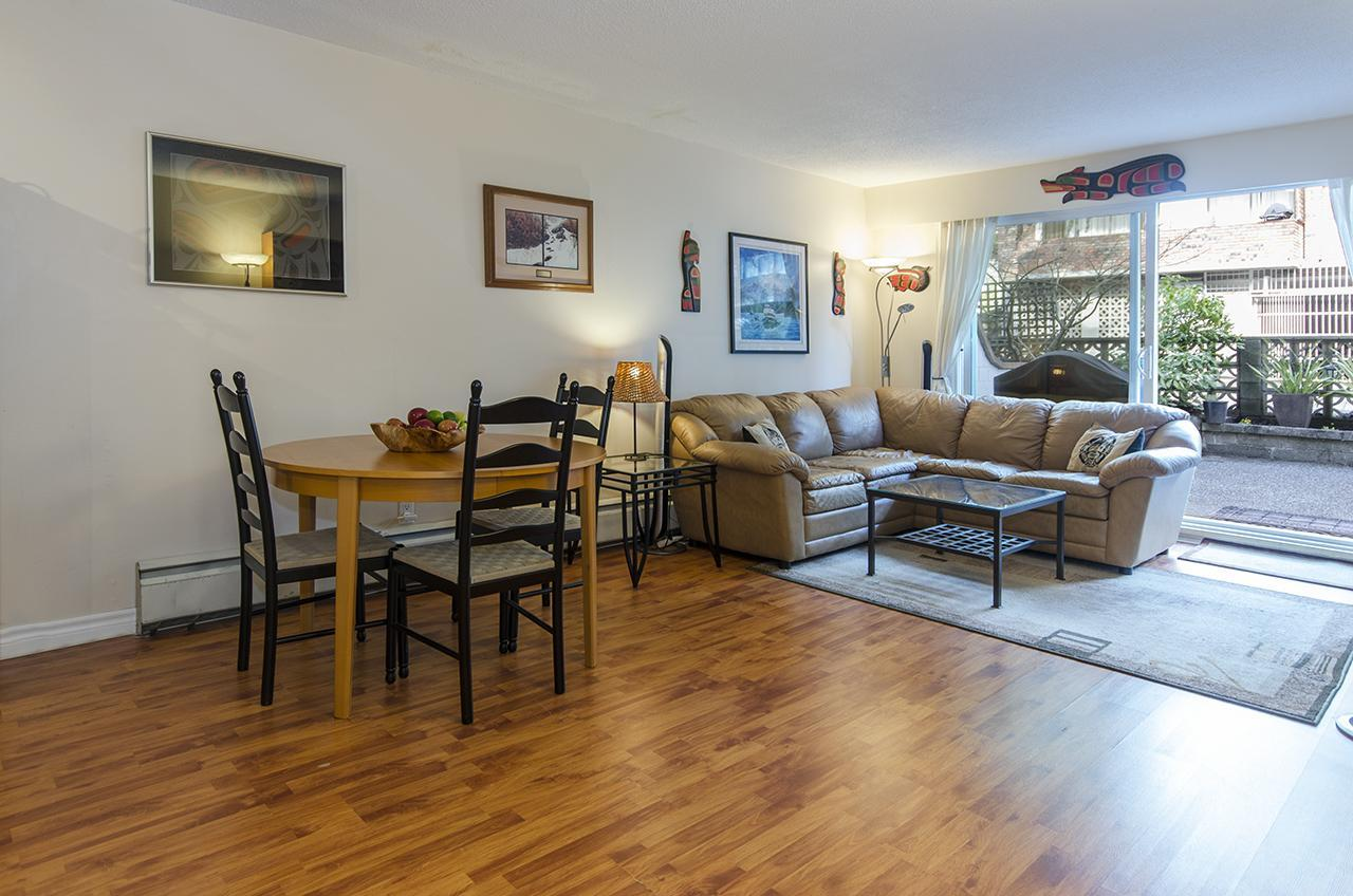 Open concept living area out to patio at 112 - 270 W. 3rd Avenue, Lower Lonsdale, North Vancouver