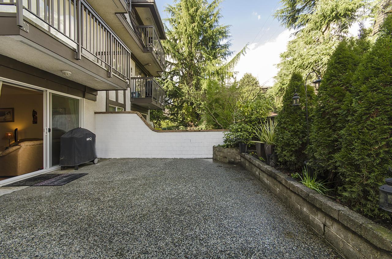 Private outdoor patio at 112 - 270 W. 3rd Avenue, Lower Lonsdale, North Vancouver