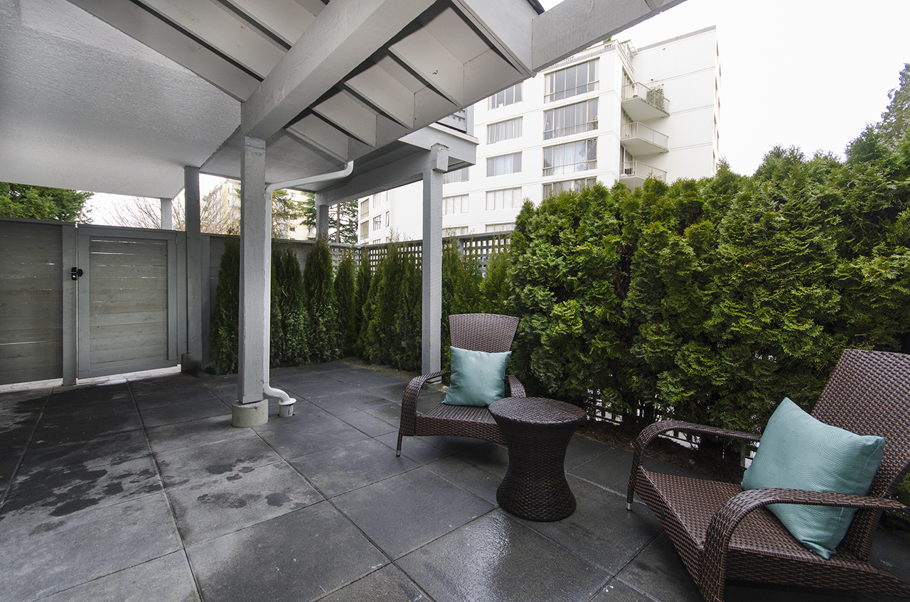 Private Front Patio at 2030 Marine Drive, Ambleside, West Vancouver