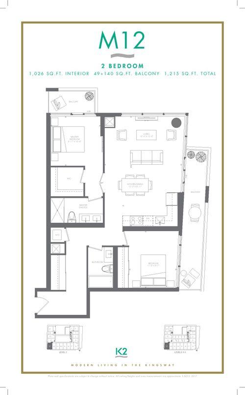 k2-m12-floorplan at 213 - 4208 W Dundas Street, Kingsway South, Toronto