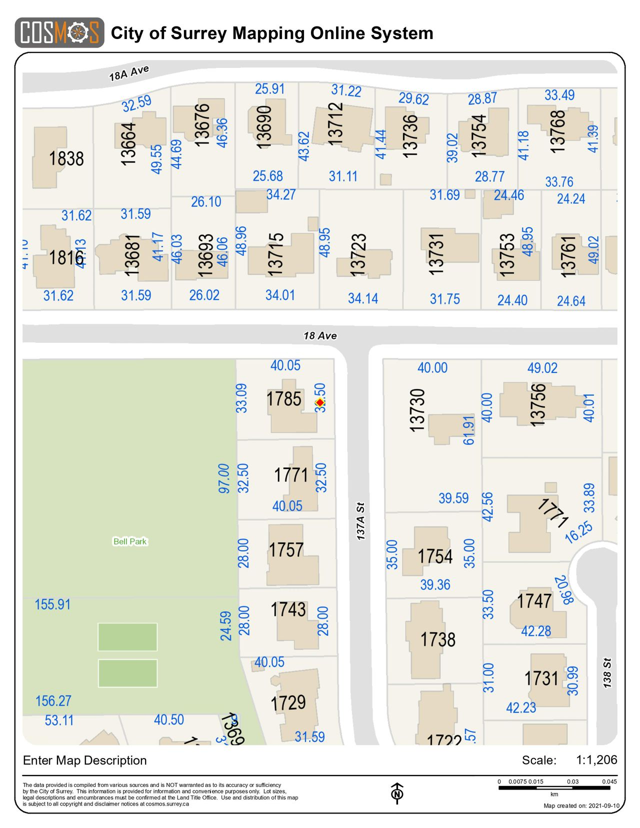 legap-map at 1785 137a Street , Sunnyside Park Surrey, South Surrey White Rock