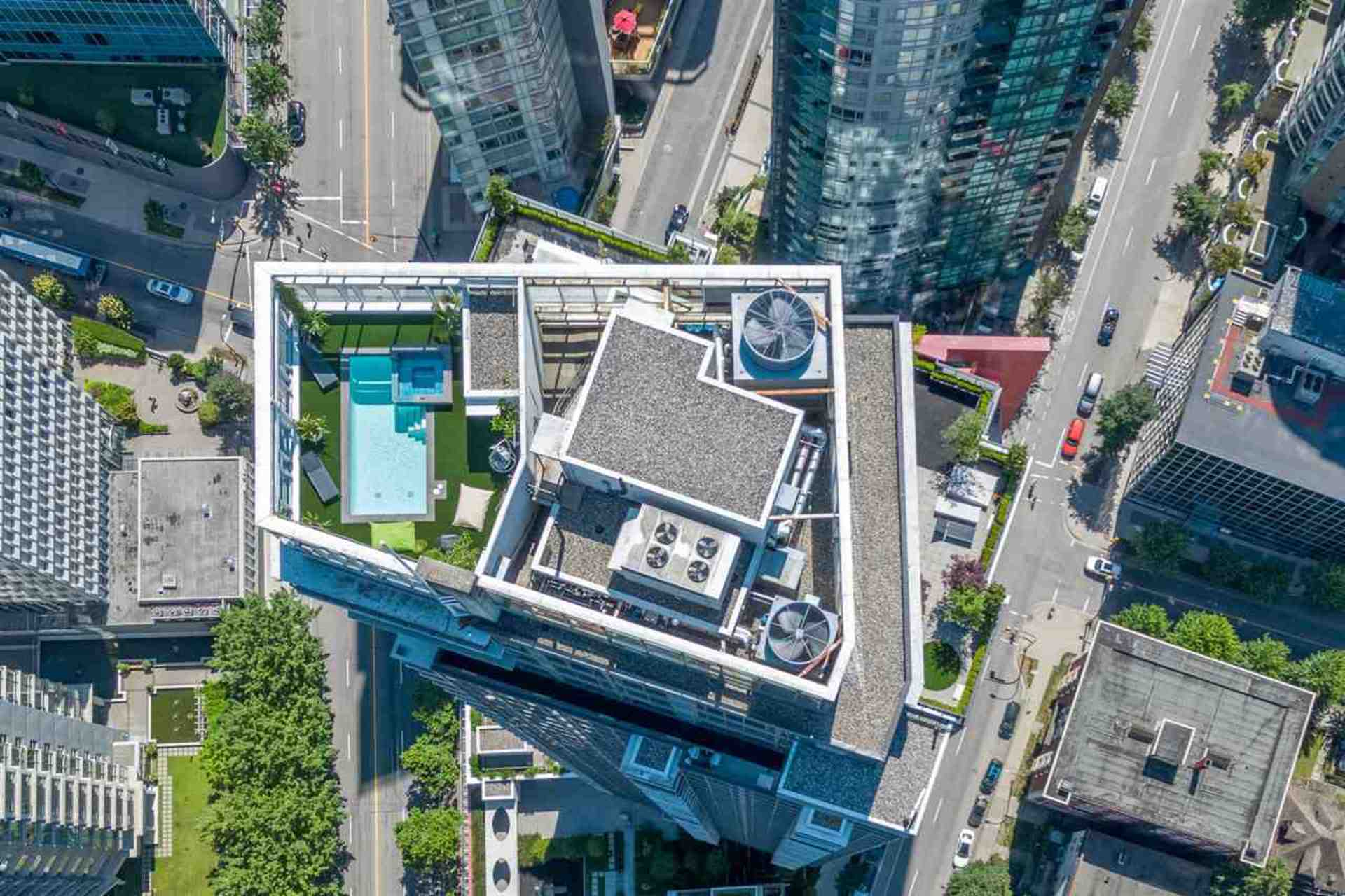 Birdseye view at PH3801 - 1211 Melville Street, Coal Harbour, Vancouver West