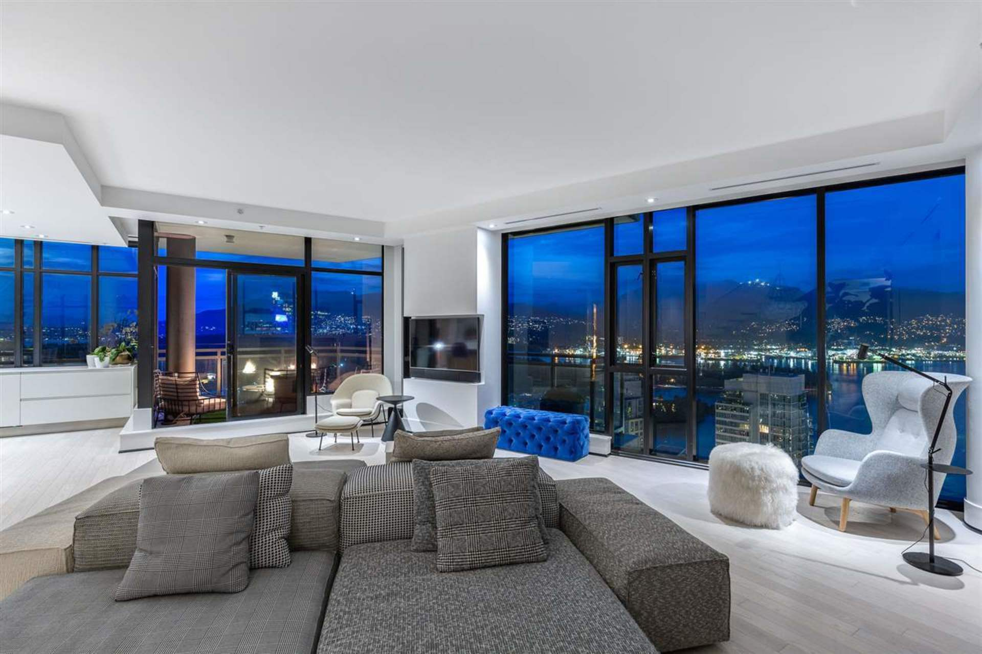 Living Room with View at PH3801 - 1211 Melville Street, Coal Harbour, Vancouver West