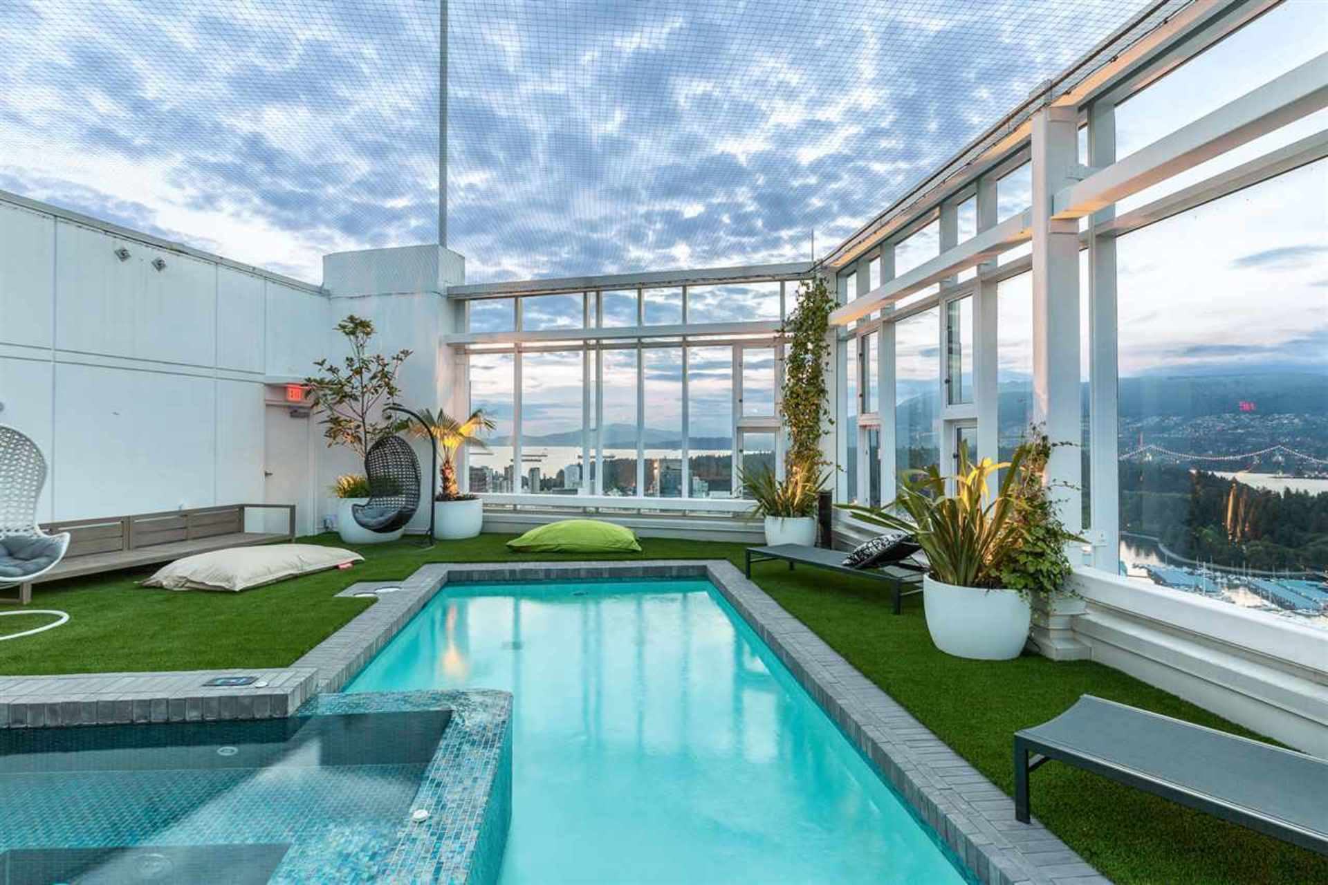 Rooftop Pool at PH3801 - 1211 Melville Street, Coal Harbour, Vancouver West